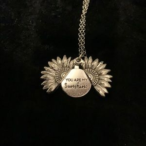 Silvertone and you are my sunshine necklace